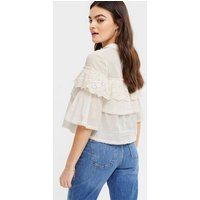 Off White Broderie Lace Frill Shirt New Look