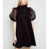 Influence-Black-Organza-Puff-Sleeve-Swing-Dress-New-Look