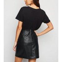 Black Leather-Look High Waist Mini Skirt New Look
