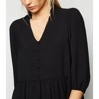 Black Frill Neck Tiered Smock Dress New Look