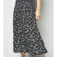 Black Floral Circle Cut Midi Skirt New Look