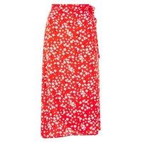 Red Daisy Wrap Midi Skirt New Look