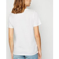 White Sketch Face Print T-Shirt New Look