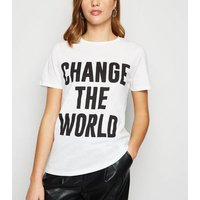 White Change The World Slogan T-Shirt New Look