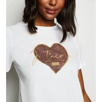 White Je T'Aime Leopard Print Heart Slogan T-Shirt New Look