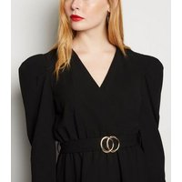 Cameo Rose Black Puff Sleeve Belted Mini Dress New Look