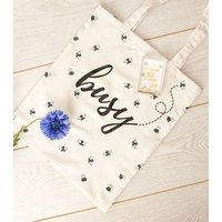 Cream Busy Bee Slogan Canvas Bag New Look