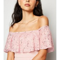 Pale Pink Sequin and Lace Bardot Bodycon Dress New Look