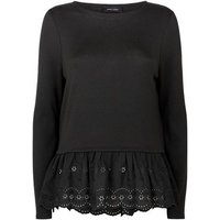 Black Fine Knit Broderie Peplum Top New Look