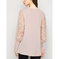 Blue Vanilla Pink Lace Sleeve Top New Look
