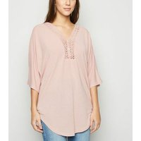 Blue Vanilla Pink Lace Trim Longline Top New Look