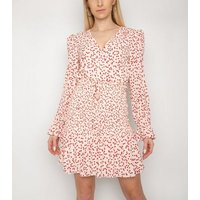 Gini London Off White Heart Print Tiered Dress New Look