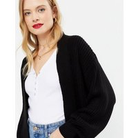 Black Puff Sleeve Long Knit Cardigan New Look