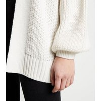 Off White Puff Sleeve Long Knit Cardigan New Look