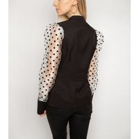 Gini London Black Spot Mesh Puff Sleeve Shirt New Look