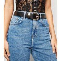 Black Premium Leather Hip Belt New Look