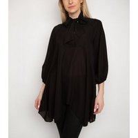 Gini London Black Tie Neck Chiffon Top New Look