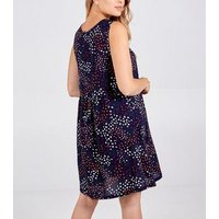 Blue Vanilla Navy Floral Gathered Swing Dress New Look