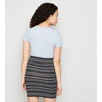 Girls Black Geometric Ring Pull Zip Mini Skirt New Look
