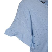 Maternity Pale Blue Broderie Peplum Top New Look
