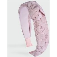 Pale Pink Lace Knot Headband New Look
