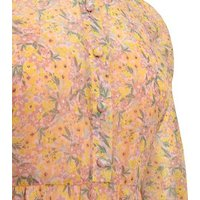 Pink Floral Tiered Smock Midi Dress New Look