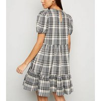 White Check Puff Sleeve Mini Smock Dress New Look