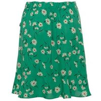 Green Daisy Wrap Ruffle Mini Skirt New Look