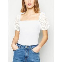 White Ribbed Floral Organza Puff Sleeve Top New Look