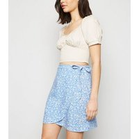 Blue Floral Mini Wrap Skirt New Look