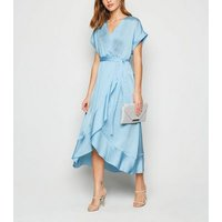 Pale Blue Satin Ruffle Trim Midi Wrap Dress New Look