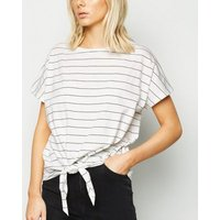 White Stripe Tie Front T-Shirt New Look