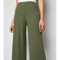 Khaki Ribbed Wide Crop Trousers New Look