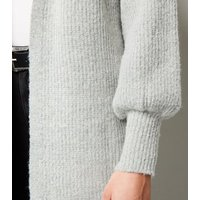 Sunshine Soul Grey Puff Sleeve Knit Cardigan New Look