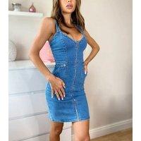 Urban Bliss Blue Zip Denim Bodycon Dress New Look