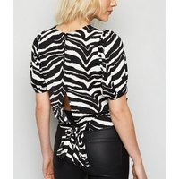 Petite Black Zebra Print Puff Sleeve Top New Look