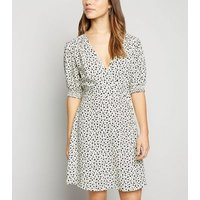 Petite White Floral Print Mini Wrap Dress New Look