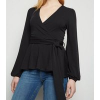 Black Long Sleeve Tie Peplum Wrap Top New Look