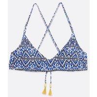 Blue Geometric Tassel Scoop Neck Crop Bikini Top New Look