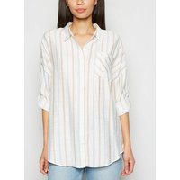 Apricot Stone Stripe Linen Look Shirt New Look
