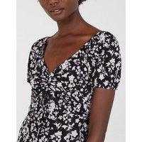 Blue Vanilla Black Floral Ruched Midi Dress New Look