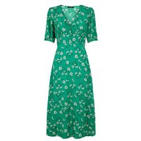 Green Floral Empire Waist Midi Dress New Look
