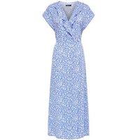 Tall Blue Floral Ruffle Side Split Midi Dress New Look