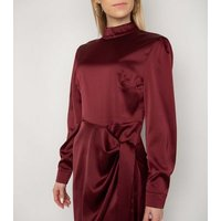 Gini London Burgundy Satin High Neck Dress New Look