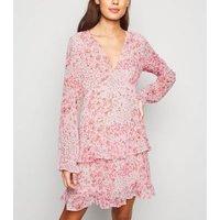 Pink Floral Chiffon Ruffle Trim Mini Dress New Look