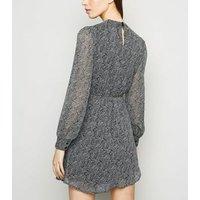 Black Paisley Print High Neck Mini Chiffon Dress New Look