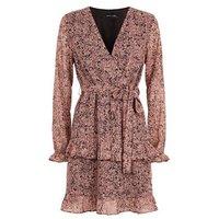 Pink Floral Chiffon Ruffle Wrap Dress New Look
