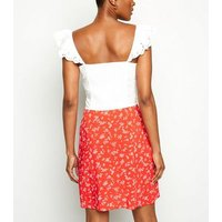 Red Daisy Print Mini Wrap Skirt New Look