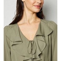 Khaki Tie Front Frill Blouse New Look