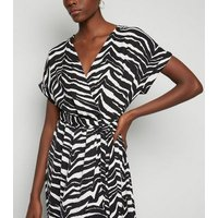 Tall Black Zebra Print Satin Ruffle Trim Midi Dress New Look